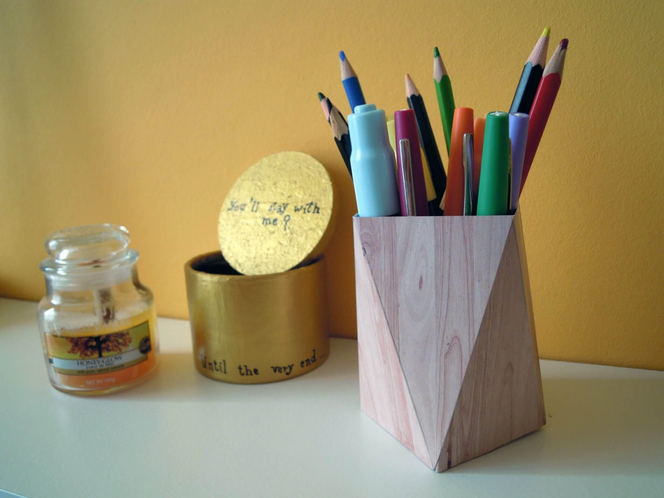 DIY : Un pot à crayons géométrique